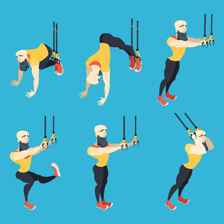 Athletic with beard showing some exercises.