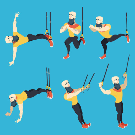 Athletic coach with beard showing some TRX exercises