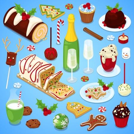 Christmas cuisine festive dinner. Illustration