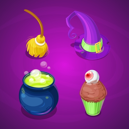 Set of halloween isometric cartoon icons and symbols for your design. Game asset. 일러스트