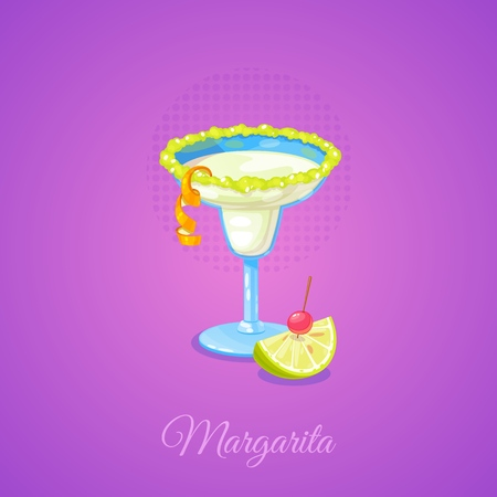 Margarita cocktail with limes and cherry in cartoon style. Vector Illustration. 일러스트