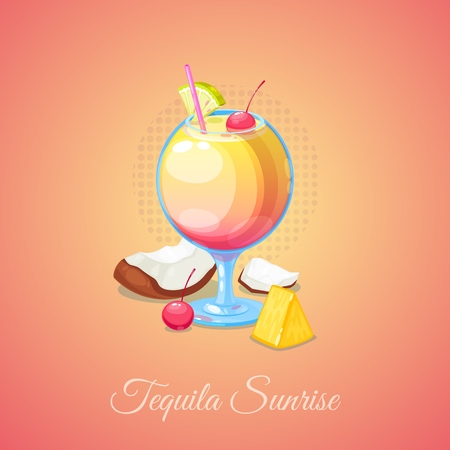 Tequila Sunrise Cocktail in Glass with Lime Slice, cherry, straw and a coconut. Vector Illustration. 일러스트