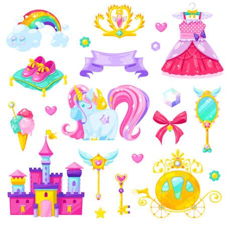 Magic princess elements set.