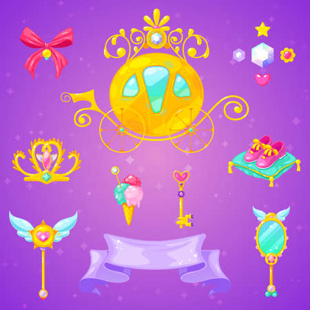 Vector set of beautiful carriage, crown and accessories. Little princess elements. 일러스트