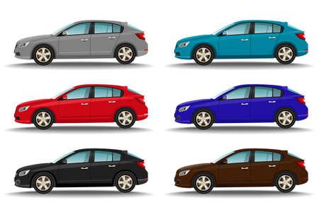 Set of six different colors cars on white background. Hatchback vehicles side view. Family transport concept. Vector illustration. Векторная Иллюстрация