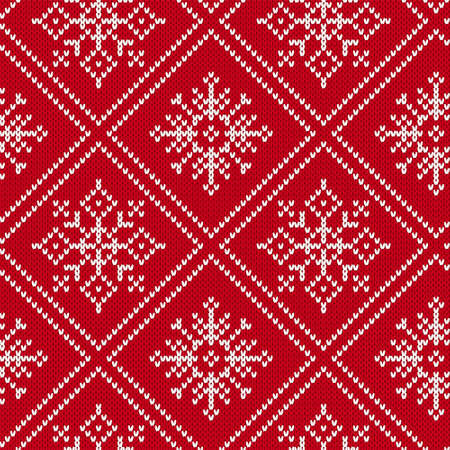Christmas knitting seamless pattern with snowflakes. Knit geometric ornament. Knitted sweater design. Red winter print. Vector illustration. Vecteurs