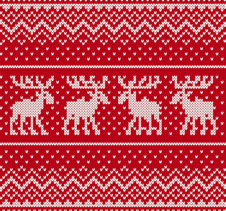 Christmas knit geometric ornament with moose. Knitted textured background. Knitted pattern for a sweater in fair Isle style with elk. Vector illustration.