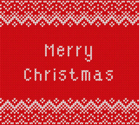 Merry christmas greetings on knitted textured background. Knit geometric ornament in scandinavian