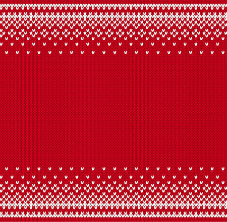 Knit geometric ornament to printing on fabric. Scandinavian knitted pattern for a sweater in fair Isle style. Knitted style background with place for text. Vector illustration. Векторная Иллюстрация