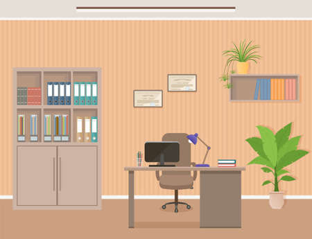 Office workspace organization. Business interior design with furniture including desk, armchair and laptop Workplace without employee. Flat vector illustration.