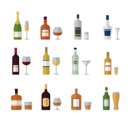 Alcohol bottles and glasses. Set beverages in flat design. Vector illustration. Icons isolated on white background. Alcoholic drinks with wineglasses.