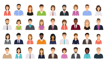 Avatar business people. Person icon. Vector. Set office men, women. Faces corporate characters in flat design. Cartoon illustration. Team male, female workers isolated. Collection portrait businessmen