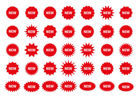New arrival price stickers. Star burst boxes. Vector. Discount promo stamps. Circle, round splash badges. Red tag product labels. Set starburst shapes isolated on white background. Flat illustration.