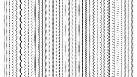 Sewing stitches. Embroidery seams seamless pattern. Vector. Set of machine thread sew brushes. Overlock fabric elements. Line border isolated on white background. Simple graphic illustration.