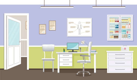 Doctors consultation room interior in clinic. Hospital working in healthcare concept. Empty medical office design with furniture and medicines. Vector illustration.