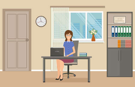 Business people concept. Woman office employee sitting on working place at the table with laptop. Business worker in office interior. Vector illustration.