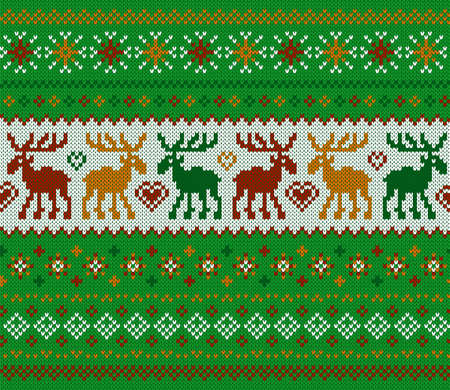 Knit Christmas seamless pattern. Green print with deers. Vector. Knitted sweater texture. Xmas geometric background. Holiday fair isle traditional ornament. Festive pullover. Wool illustration.