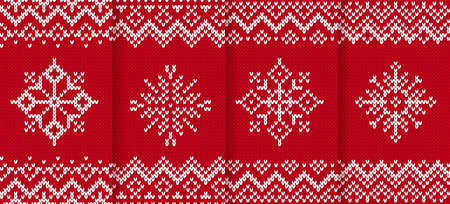 Knit christmas pattern. Xmas seamless background. Vector. Knitted sweater texture. Festive winter red print with snowflake. Set of holiday fair traditional ornaments. Wool pullover illustration.