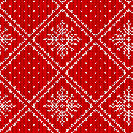 Knit seamless pattern. Christmas background. Vector. Knitted sweater texture. Xmas festive winter red print with snowflakes. Holiday fair traditional ornament. Wool pullover illustration.