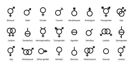 Gender symbols. Vector. Set orientation outline signs. Male and female black icons isolated on white background. Sexual concept. Simple illustration.