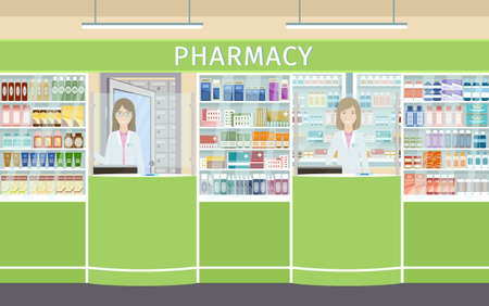 Pharmacy interior design with two pharmacist female characters at the counters. Drugstore interior with showcases with medicines and apothecary on her workplace. Vector illustration.