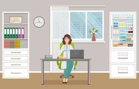 Woman doctor in uniform sitting at the desk in doctor's office. Medical consulting room interior with table, cabinet with drugs and window. Medicine employee character. Vector illustration.