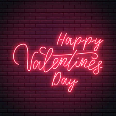 Valentines day neon sign with bright lettering text. Valentine greeting emblem design in neon style. Vector illustration.