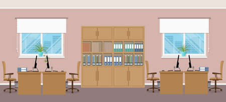 Office interior with four workplaces and office furniture. Office openspace design concept. Working indoor room template without people. Flat style vector illustration.