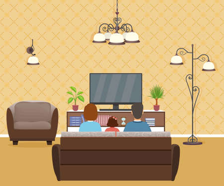 Family of man, woman and child watching tv in living room interior. Father, mother and girl kid relax on sofa in front of the tv set. Domestic situation. Vector illustration.