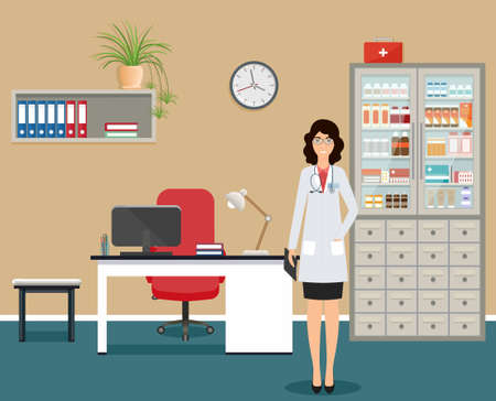 Woman doctor in uniform standing near the desk in doctors office. Medical consulting room interior with table, cabinet with drugs and window. Medicine employee character. Vector illustration.