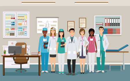 Medicine employee characters waiting fo patients in clinic. Women and men doctors and nurses in uniform standing in doctors office. Medical consulting room interior. Vector illustration.