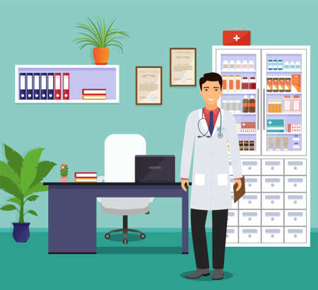 Mann doctor in uniform standing near the desk. Medicine employee character with folder in hand waiting for patients in clinic. Medical consulting room interior with table. Vector illustration.