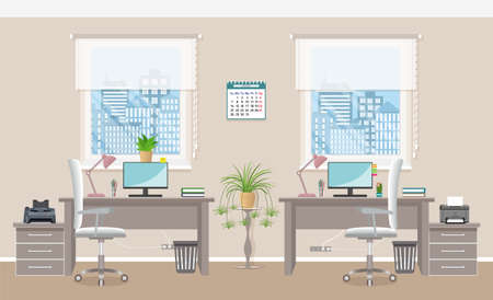Office interior design with two workplaces without people. Working indoor room template in corporate building. Office room without people. Flat style vector illustration.