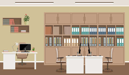 Office interior concept. Workplace design with three workplaces and office furniture like tables, laptops, armchairs. Working indoor room template without people. Flat style vector illustration.