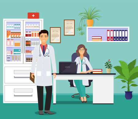 Woman and man doctors in uniform in doctors office. Medical consulting room interior. Male and female physicians. Medicine employee characters waiting fo patients in clinic. Vector illustration.