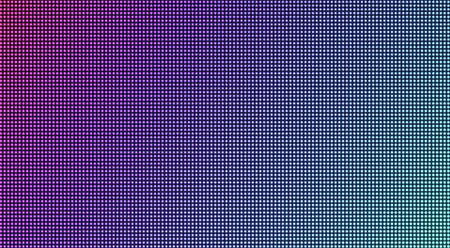 Led screen. Pixel textured TV background. Lcd monitor. Digital display with dots. Electronic diode effect. Pink purple blue television videowall. Projector grid template. Vector illustration.