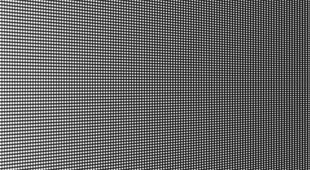Led screen. Pixel texture. TV background with dots. Lcd monitor. Digital display. Electronic diode effect. Black white television videowall. Projector grid template with bulbs. Vector illustration.
