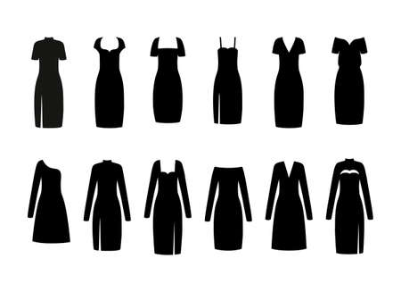 Black little dress. Vector. Set women dresses. Fashion silhouette apparel. Collection girl clothing. Clothes icon isolated on white background. Flat illustration.