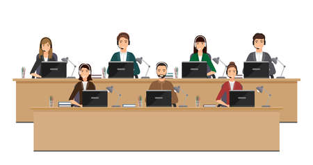 Employees of call center on working places. Operators in headsets at desks on white background. Working situation with staff of support service. Online customer help. Vector illustration. Vector Illustratie