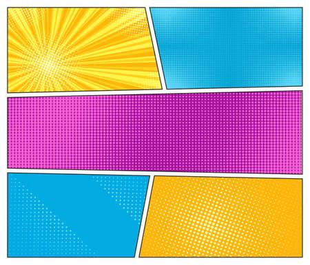 Pop art halftone background. Comic starburst pattern. Set cartoon banners with dots and rays. Superhero starburst backdrop. Vintage duotone texture. Gradient wow design. Vector illustration.