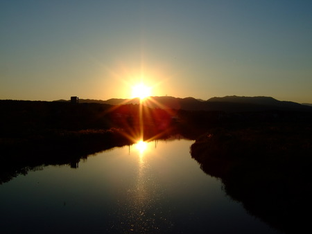 Sunset on River 写真素材