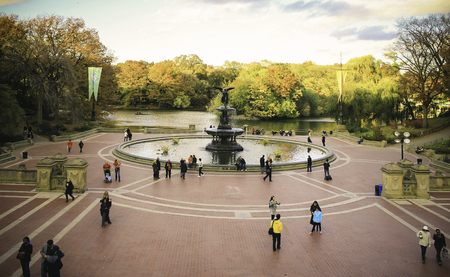 bethesda: Famous and Beatiful Place in Central Park New York City.  , Bethesda Fountain. Urban relaxing Editorial