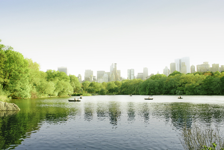 romatic: Central Park New York , Lake romatic season and landscape. Stock Photo