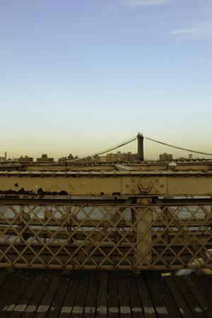 see the usa: Urban Evening on classic Brookyln Bridge to see Manhattan Bridge and New York City , USA