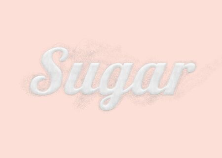 word: The word sugar written by sugar grains with elegance and cute design on sweet pink background. Stock Photo