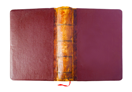 Hardcover of a vintage opened brown book with red bookmark isolated on a white background