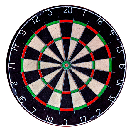 Sisal professional dartboard isolate on white background (used condition) 스톡 콘텐츠