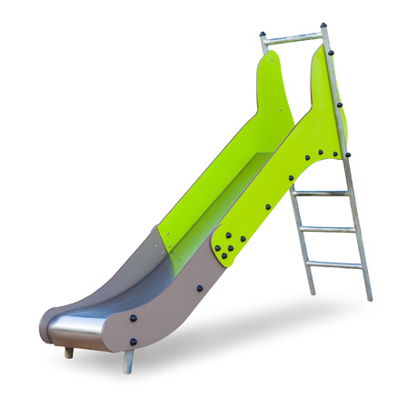 Childrens slide of metal and plastic painted gently green with shadow, isolated on white background (design element)