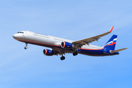 Moscow region, Russia, april 2018: Russian Airlines plane Aeroflot flies in the blue sky (editorial)