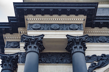 Fagment of a columns caps of triumphal arch in Moscow on a Poklonnaya Hill